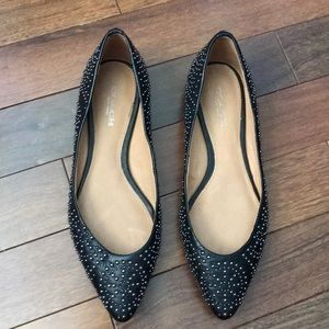 Coach black and silver metal studded flats size 5